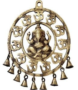 Brass Om Ganesha Wall Hanging with Bells Showpiece 8 x 10 Inches Brown