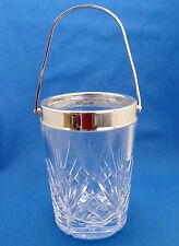 Vintage Quality Cut Glass Crystal Wine Cooler/Ice Bucket Silver Plate Handle