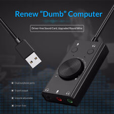USB External Sound Card 2 in 1 3-Port Output Volume Adjustable Audio Adapter