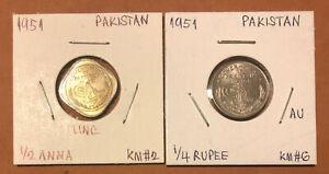 1951 Pakistan 1/4 Rupee,1/2 Anna Set of 2 Uncirculated Coins~KM#6,KM#2