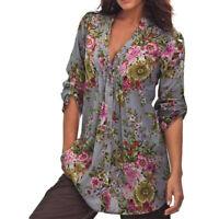Plus Size US Women's Vintage Floral Print V-neck Tunic Tops Loose Blouse T Shirt