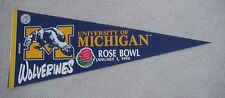 1990 MICHIGAN WOLVERINES ROSE BOWL  GAME DAY PENNANT UNSOLD STOCK