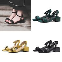 Women Slingbacks Sandals Block Heels Open Toe Ankle Strap Buckle Casual Shoes