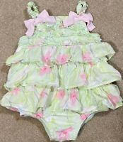 FAO Schwarz Dressy Baby Girl Floral Sleeveless Ruffle Romper Size 0/3 Months