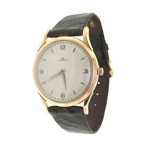 Vintage IWC Shaffhausen 18k Rose Gold White Dial Leather 36mm Mens Wind Watch