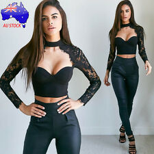 Sexy Women Black Lace Long Sleeve Blouse Crop Tops Party Bustier Slim T-Shirts