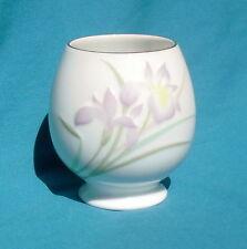 """Otagiri Japan White Porcelain Flower Vase """"Iris Spray"""", 3½"""" Oval, Pedestal Base"""
