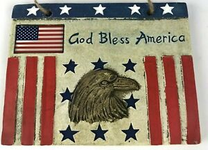 """God Bless America"" Red, White & Blue  Eagle Flag  Small Ceramic Plaque 6""x 5"""