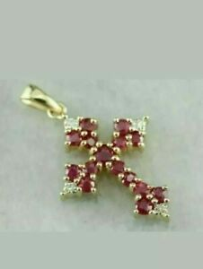 2.00Ct Round Cut Red Ruby & Diamond Cross Pendant Necklace 14k Yellow Gold Over