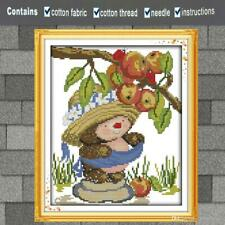 "Joy Sunday Counted Cross Stitch Kit ""Hedgehog Picking Apples"" Nip"
