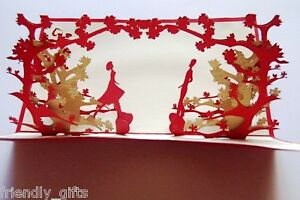17.5cm x 10cm 3D Pop Up Tree & Dancing Red Cover, Wedding Greeting Card