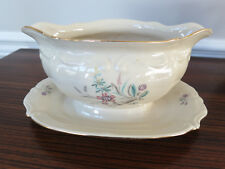 Vintage P T Tulowice China Gravy Boat w/Underplate Floral Pattern Made in Poland