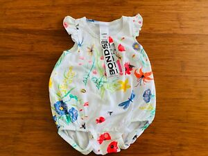 Bonds Floral White Frill Bubblesuit BNWT Size 00 Butterfly Bee Pink Blue Yellow