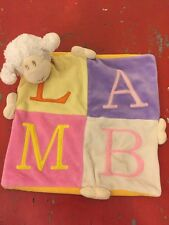 "Baby Connections - Lamb Letters Plush Lovey Security Blanket - 10"" X 10"" Pastel"