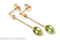 9ct Gold Peridot Oval long drop earrings Made in UK Gift Boxed