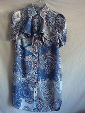 AUTH BCBG SHORT SLEEVE COLLARED PRINTED DRESS NEW BLUE SZ 6 RETAIL $128