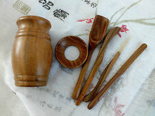 5 CHINESE TEA TOOL IN PADAUK WOOD INLAID CONTAINER SET JAPANESE BIRTHDAY PARTY