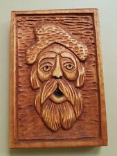 Green Man Pagan Spirit of Forest Hand Made Wood Carving 9,5 x 14cm