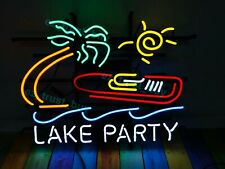 "New Lake Party Neon Light Sign 24""x20"" Lamp Poster Real Glass Beer Bar"