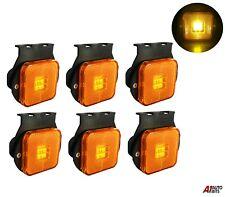 "6x 2.55"" 4 Led Side Marker Indicator For Lights Truck Trailers Amber Lamps 24v"