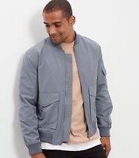 NEW LOOK Mens Grey Popper Sleeve Bomber Casual Jacket XLarge Trendy Dapper