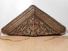 Plastron coiffe tissus ancien XIX 19 siècle velour canetillé broderie ancienne