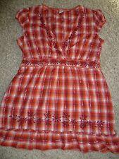 Damen Bluse Kurzarm Tunika rot orange Gr. L 40 42 SOCCX bequem sitzend Kurzarm
