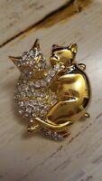 Hugging Cat brooch gold tone and rhinestone pin fashion jewelry