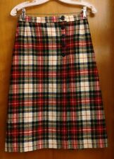 Pendleton Virgin Wool Plaid A Line Wrap Skirt 8 Red Blue Yellow Green Off White