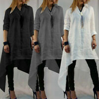 Plus Size Women Casual Tunic Blouse Long Sleeve Basic Asymmetric Mini Dress Tops