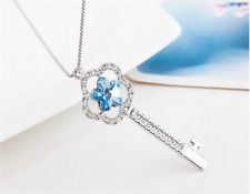NEW Womens Key Star Blue Crystal Rhinestone Silver Chain Pendant Necklace  HOT