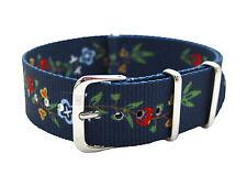 HNS ZULU MoD G10 20mm Double Graphic Fashion Flowers Navy BG Nylon Watch Strap