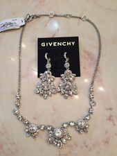 Brand NEW - Givenchy Silver Tone Clear Crystal Cluster Necklace and Earrings