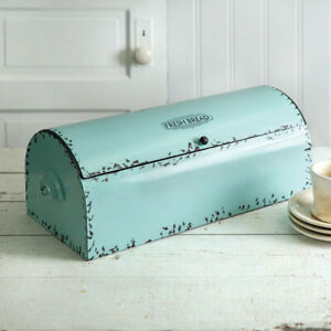 Vintage new metal Bread Box in Seafoam