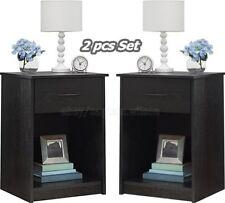 Nightstand Set of 2 Black End Table Bedroom Bedside Furniture Shelf Drawer