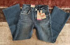 New Levi's Girls Flare Uncrushed Stretch Jeans Size 6 Regular Adjustable Waist