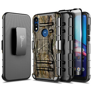 For Motorola Moto E 2020 Case Holster Belt Clip Phone Cover with Tempered Glass