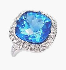 STUNNING 13.85CT DIAMOND BLUE TOPAZ CHECKER BOARD ENGAGEMENT RING 14K WHITE GOLD