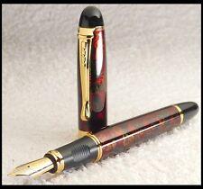 Edler Füller Fountain Pen * M FEDER 18K VERGOLDET * Rot Gold & Schwarz