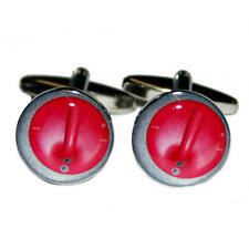 Red Curling Puck Cufflinks With Gift Pouch Winter Olympics Ice Game Present New