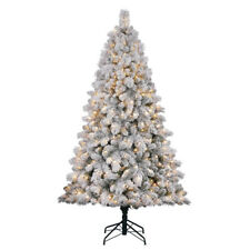 home heritage cascade 7 pine white flocked artificial christmas tree w lights