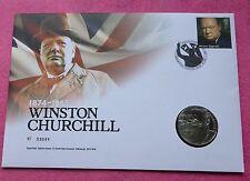 2015 Sir Winston Churchill cinquantesimo ann Cinque sterline £ 5 BU MEDAGLIA FDC PNC