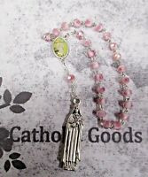 St. Saint Therese Chaplet - Pink Roses Glass Beads, Silver Ox Die Cast Medal