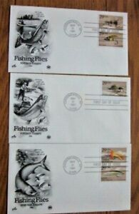 FISHING FLIES COMPLETE SET 5 STAMPS 3 1991 PCS CACHET FDCS MINNOW SCOTT WULFF UN