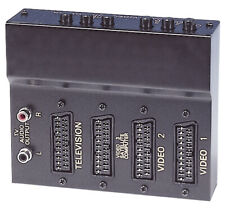 NEW BLACK METAL 3 X THREE WAY SCART SWITCH INPUT EXPANDER + RCA/PHONO AUDIO OUT