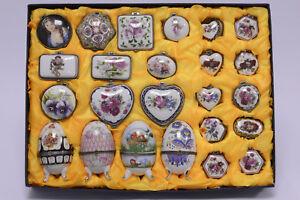 Porzellan Pillen Dosen Sammlung 24 Dosen, Töpfe & Zierschalen Luxus-Accessoire