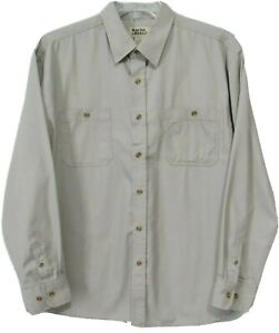 Racks & Reels Mens L Hunting Fishing Shirt Long Sleeve Pockets Safari Beige