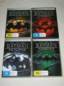 Batman + Batman & Robin + Returns + Forever - VGC - Region 4 - DVD - Lot