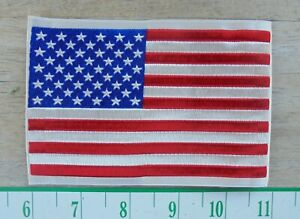 AMERICAN FLAG EMBROIDERED PATCH SEW-ON 5 X 3.5 IN-NEW