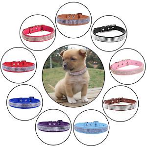 Crystal Diamante Dog Cat Puppy Soft Collar Tag PU Leather Rhinestone Safety Band